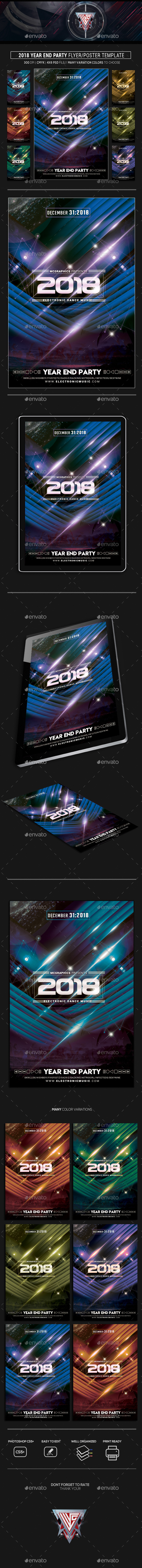 2018 Year End Party Flyer Template - Flyers Print Templates