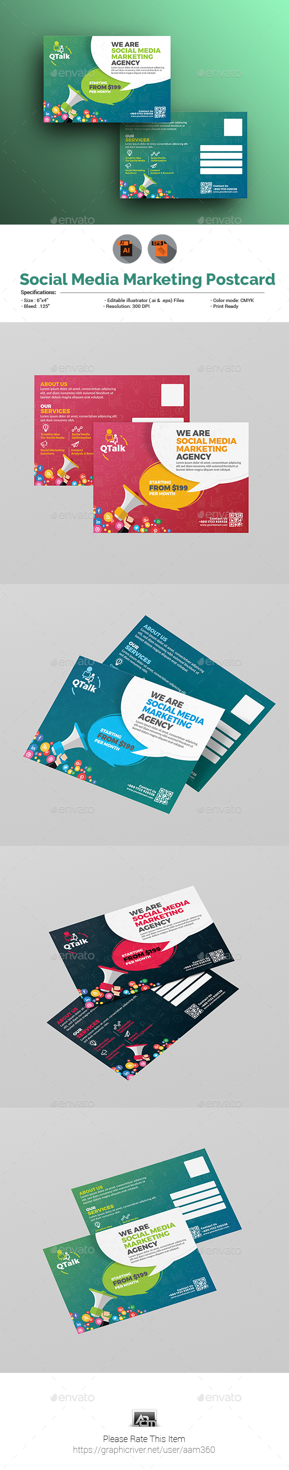 GraphicRiver Social Media Marketing Postcard 21116843
