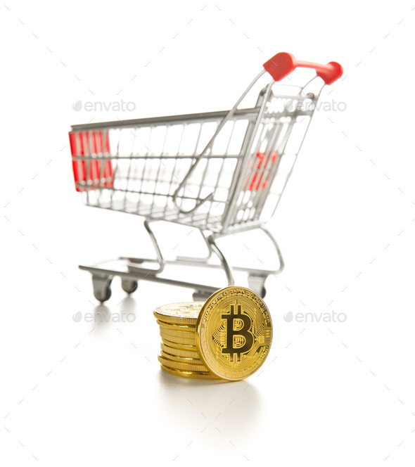 Golden bitcoins. Cryptocurrency and shopping cart. - Stock Photo - Images