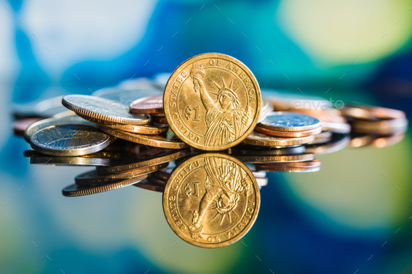 One dollar coin. - Stock Photo - Images