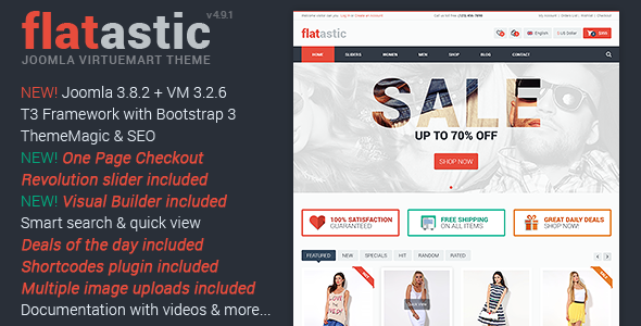 Flatastic Responsive Multipurpose VirtueMart Theme - VirtueMart Joomla