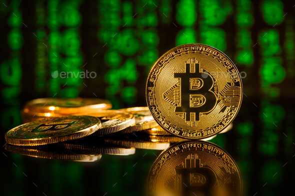 Golden bitcoins. Cryptocurrency . - Stock Photo - Images