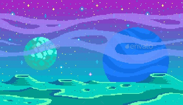 Pixel Art Planet Game Location - Backgrounds Game Assets