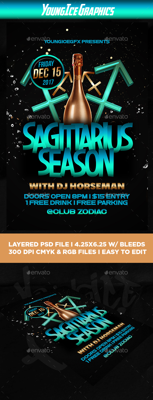 Sagittarius Season Flyer Template - Clubs & Parties Events