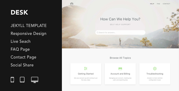 Desk - Responsive Knowledge Base & FAQ Jekyll Theme Free Download | Nulled
