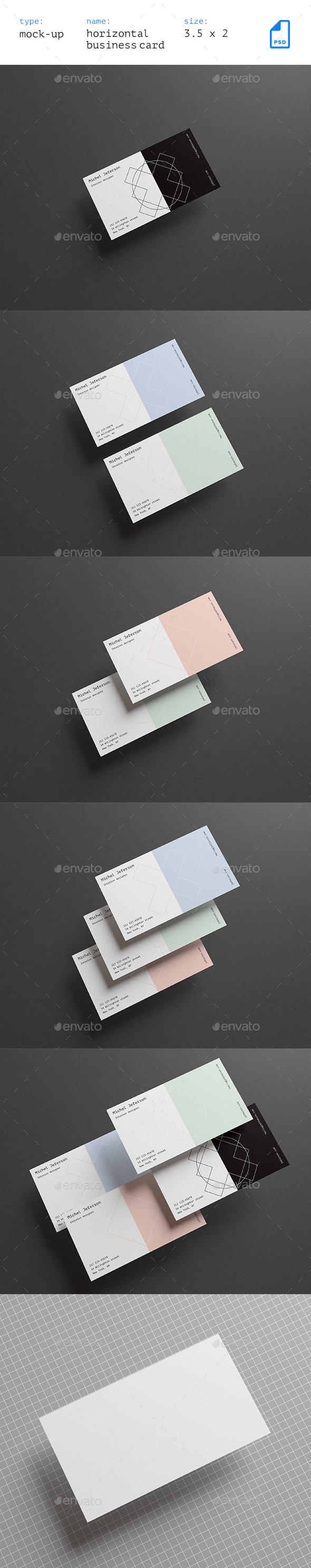 GraphicRiver Horizontal Business Cards Mock-up Vol 2 21117258