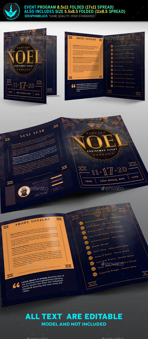 Noel Christmas Gala Program Template - Informational Brochures
