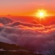 Sunset on the Mountain and Below the Clouds at Rinjani Volcano, Lombok, Indonesia - VideoHive Item for Sale