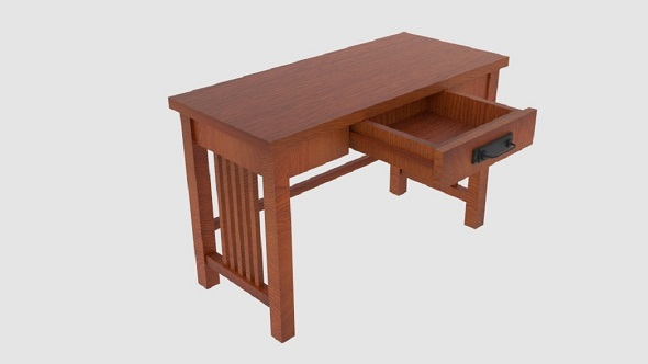 Mission-Style Ash Oak Desk - 3DOcean Item for Sale