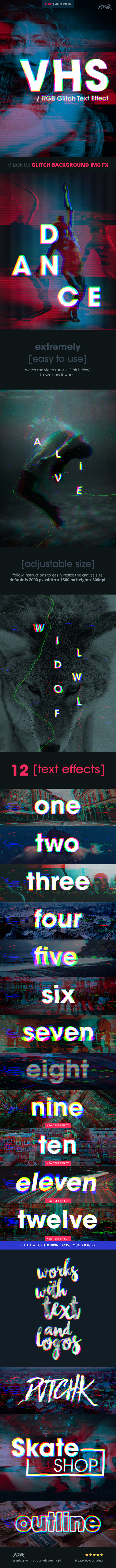 VHS - RGB Glitch Text Effect - Text Effects Actions