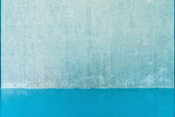 blank wall and blue floor - Stock Photo - Images