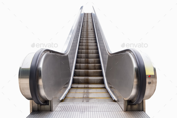 modern outdoor escalator isolated - Stock Photo - Images