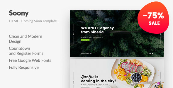 Soony — Powerful Coming Soon HTML Template - Creative Site Templates