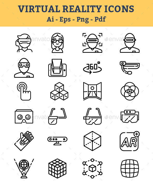 GraphicRiver Virtual Reality Icons 21117452