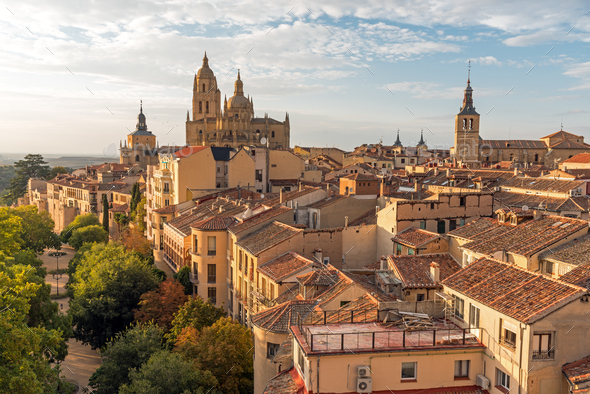 View over the small historic city of Segovia - Stock Photo - Images