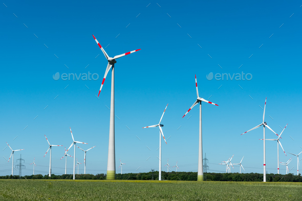 Modern wind power plants in Germany - Stock Photo - Images