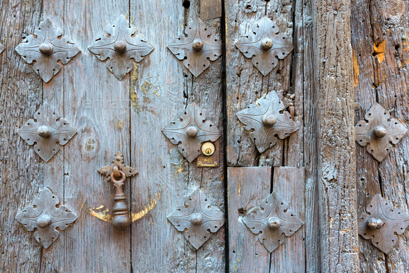 Ancient old door knocker - Stock Photo - Images