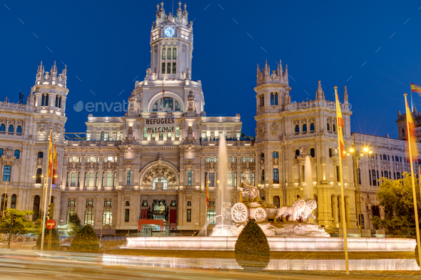 Plaza de Cibeles in Madrid at night - Stock Photo - Images