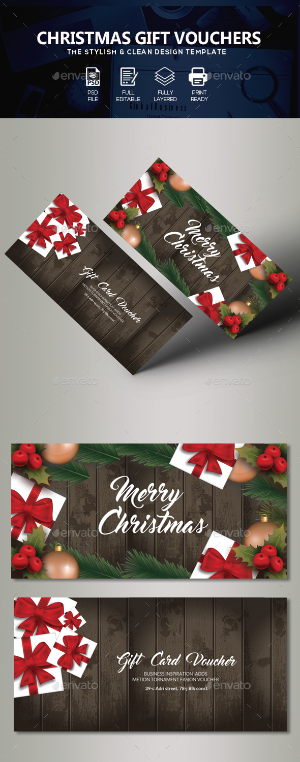 GraphicRiver Marry Christmas Gift Voucher 21117600