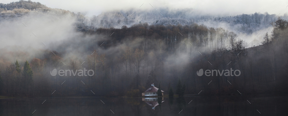 Fog on the lake - Stock Photo - Images