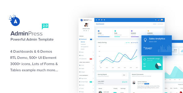 Admin Press - The Ultimate & Powerful Bootstrap 4 Admin Template - Admin Templates Site Templates