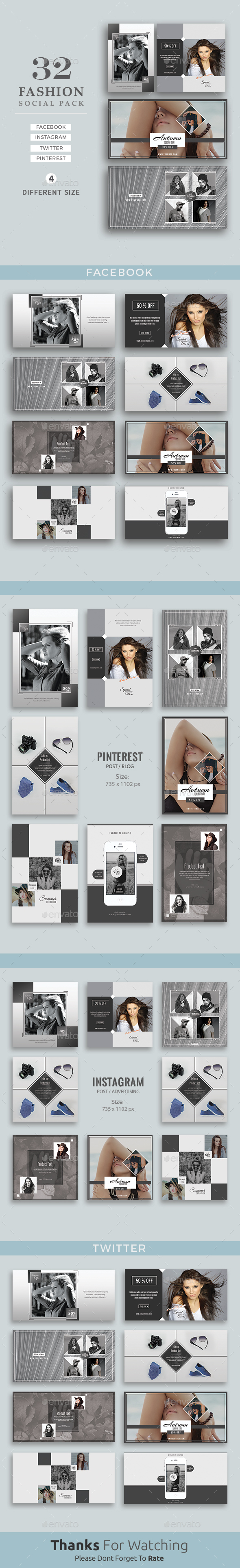 Fashion Social Media Pack - Social Media Web Elements