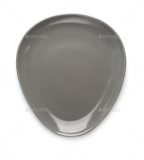 Gray matte plate of unusual shape on a white background. Isolate - Stock Photo - Images