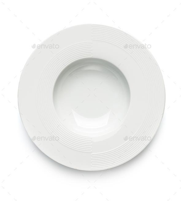 White stylish dinner plate on white background. Isolated. - Stock Photo - Images