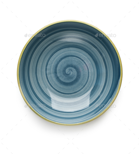 Blue soup plate on white background. View from above. Isolated. - Stock Photo - Images