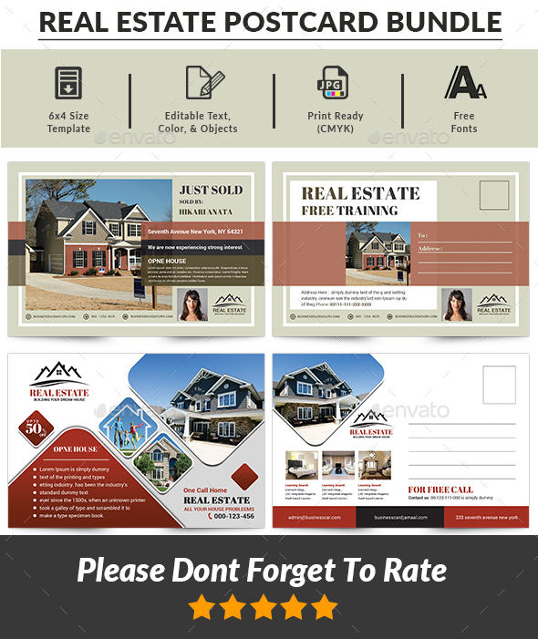 GraphicRiver Real Estate Postcard Bundle 21117783