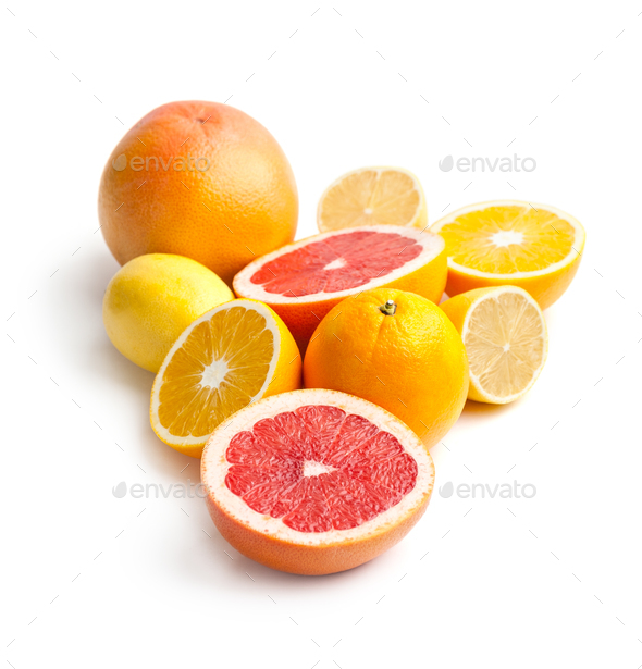 Mix of citrus fruits on a white background. - Stock Photo - Images
