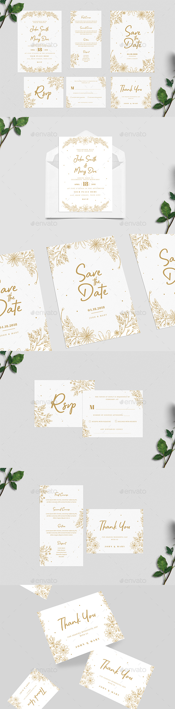 Gold Floral Wedding Invitation Suite - Weddings Cards & Invites