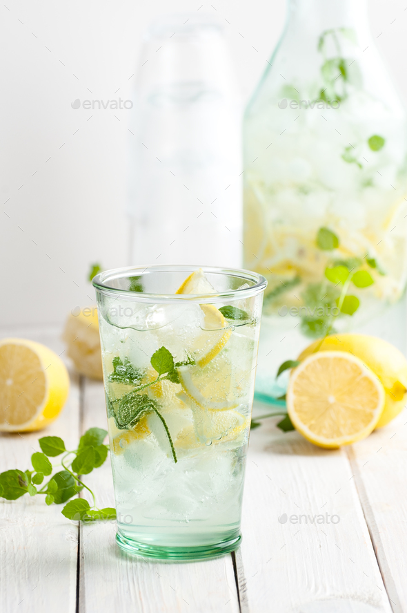 Lemonade from lemons, mint with gasiron water. - Stock Photo - Images