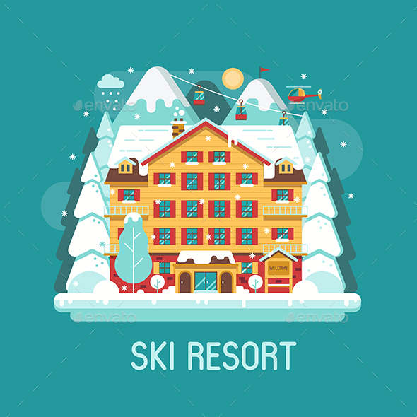 GraphicRiver Winter Ski Resort Flat Landscape 21117843