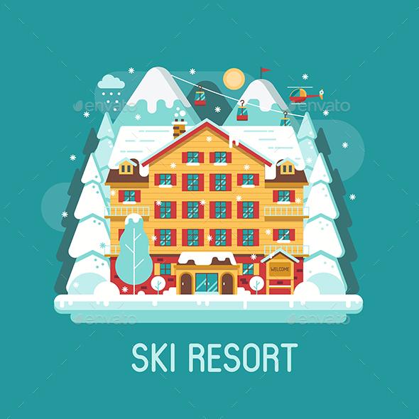 Winter Ski Resort Flat Landscape - Travel Conceptual