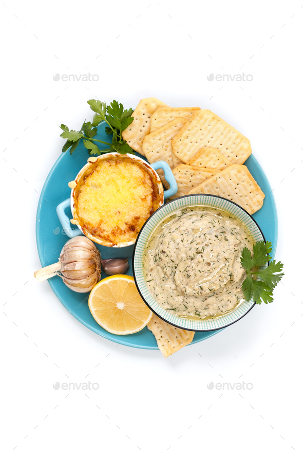 Mousse from baked aubergine with garlic, baked under cheese crus - Stock Photo - Images