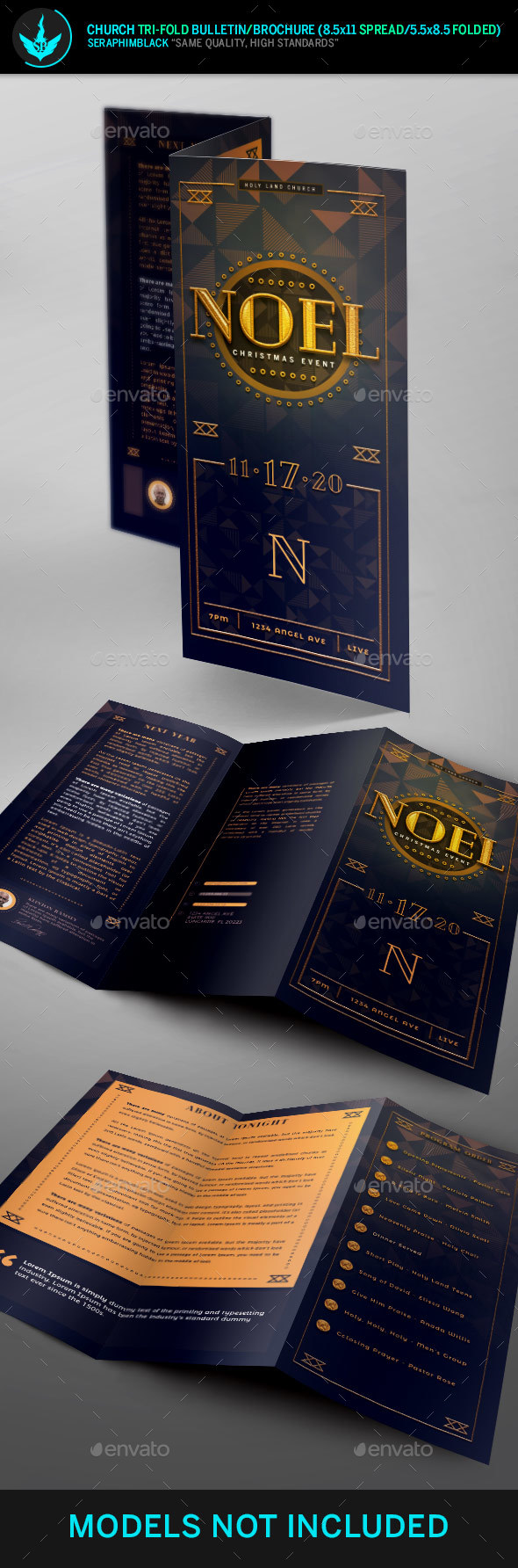 Noel Christmas Gala Tri-Fold  Program Template - Informational Brochures