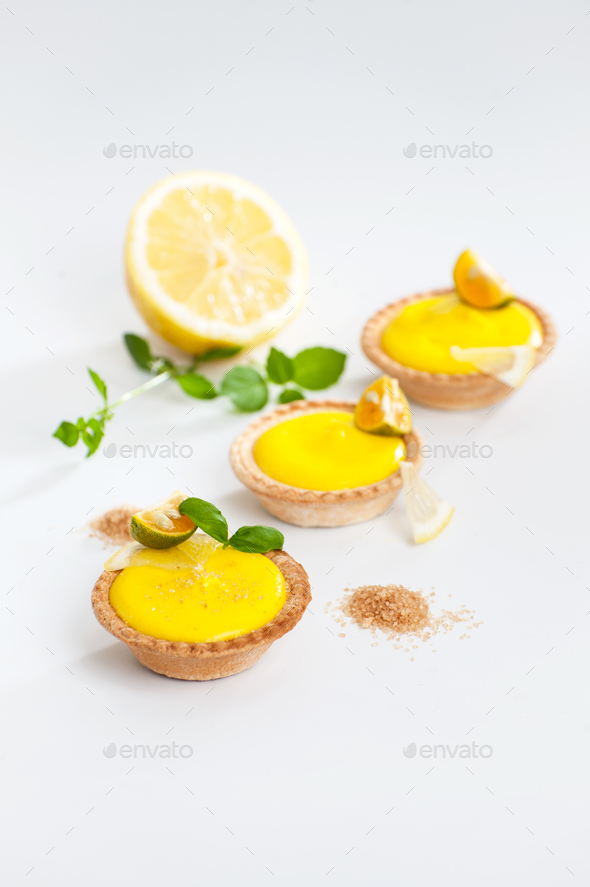 Tartlets with creamy lemon custard. - Stock Photo - Images