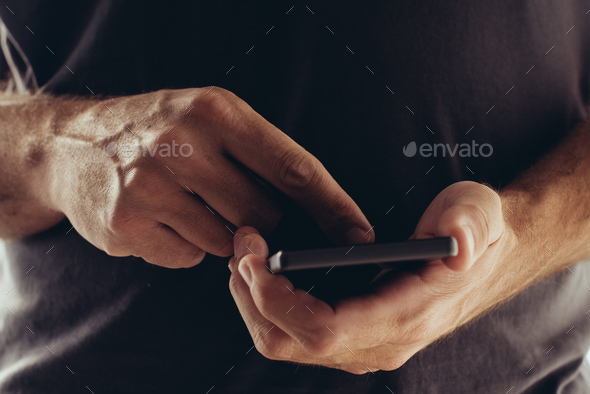 Sexting on mobile phone - Stock Photo - Images