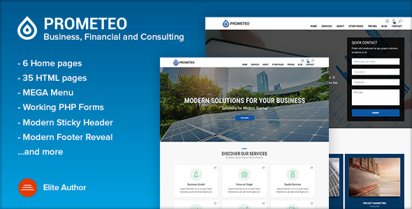 PROMETEO - Business, Financial and Consulting Site Template Free Download | Nulled