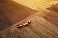 Aerial view of agricultural tractor in the field - PhotoDune Item for Sale
