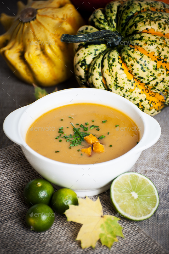 Jamaican pumpkin soup with lime. - Stock Photo - Images