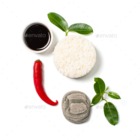 Rice, chili pepper and soy sauce on a white background. - Stock Photo - Images