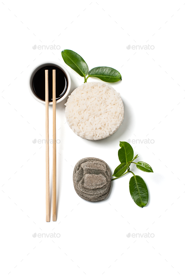 Rice and soy sauce on a white background. - Stock Photo - Images