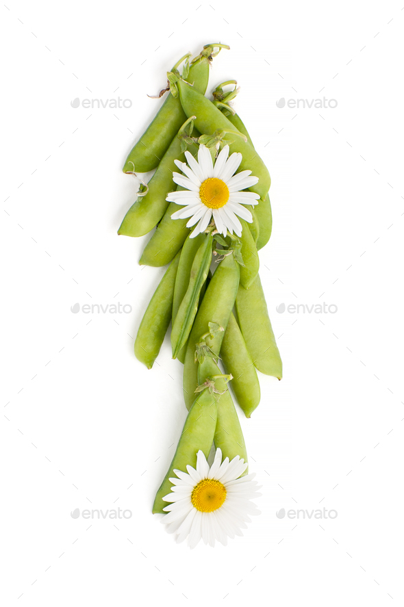 Fresh green peaked pea, decorated with chamomile flowers on a wh - Stock Photo - Images