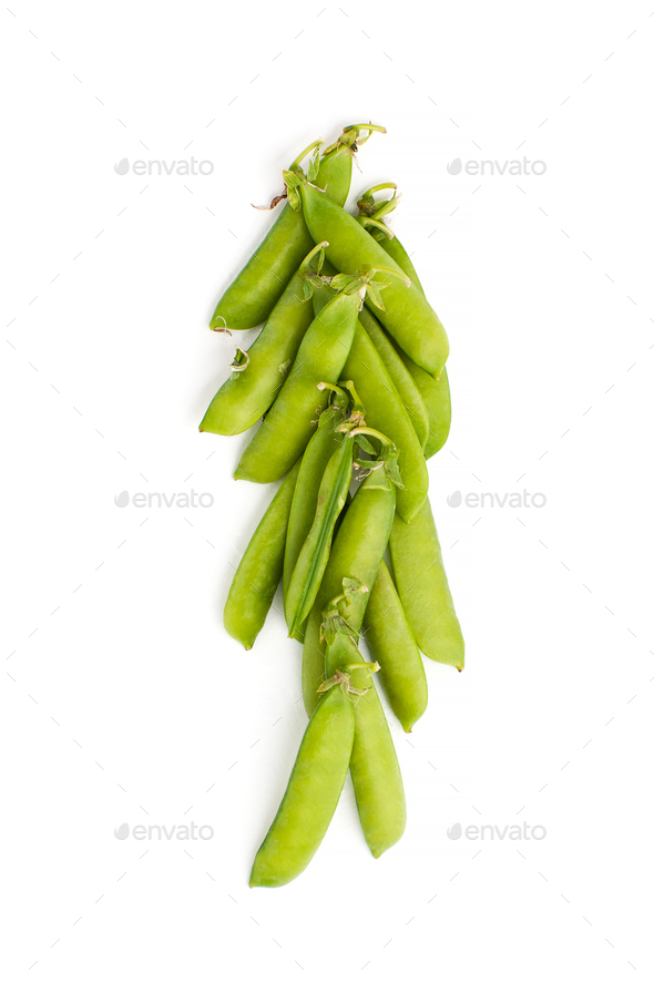 Young green stiletto peas on a white background. - Stock Photo - Images