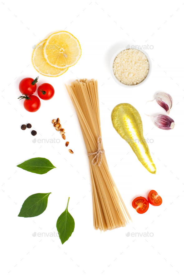 Set of ingredients for cooking spaghetti with Pesto sauce and to - Stock Photo - Images