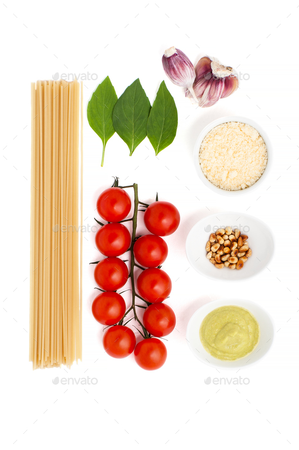 Set for cooking pasta with Pesto sauce and tomatoes on a white b - Stock Photo - Images