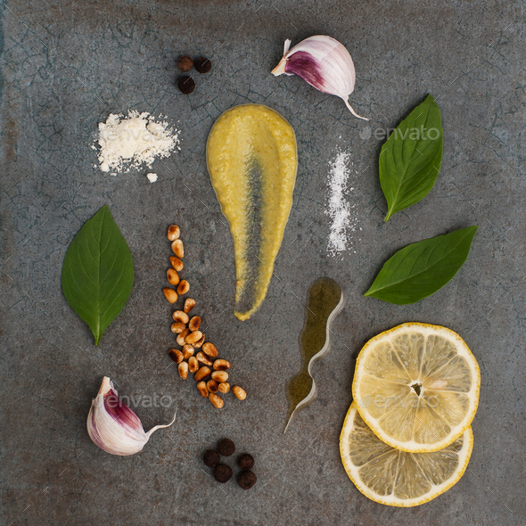 Ingredients for Pesto sauce and Cherry tomatoes on a stone textu - Stock Photo - Images