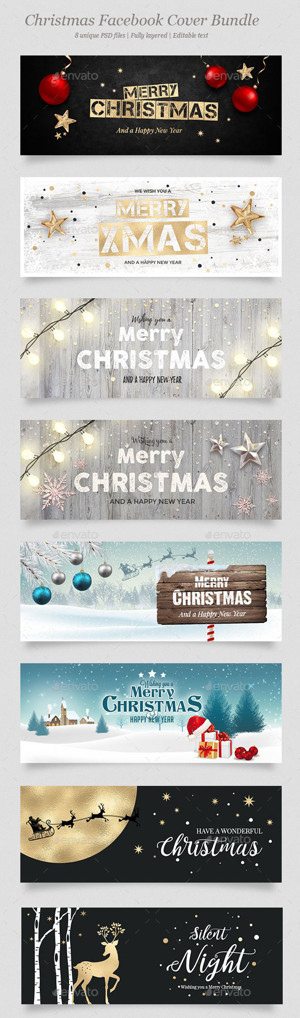 GraphicRiver 8 Christmas Facebook Banner Bundle 21118575